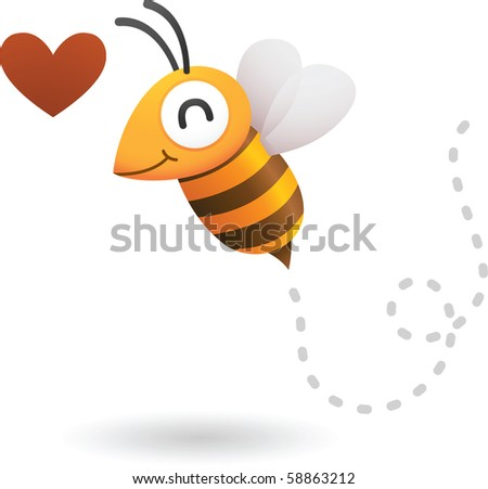 Illustration of bee in love - stock photo