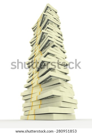 Illustration of big money stack from dollars usa. Finance concepts - stock photo