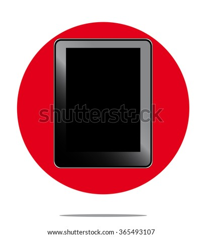 Illustration of black computer tablet with red circle background - stock photo