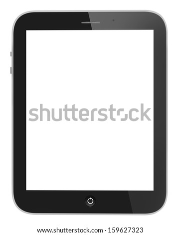 Illustration of black tablet pc similar to ipade on white background - stock photo