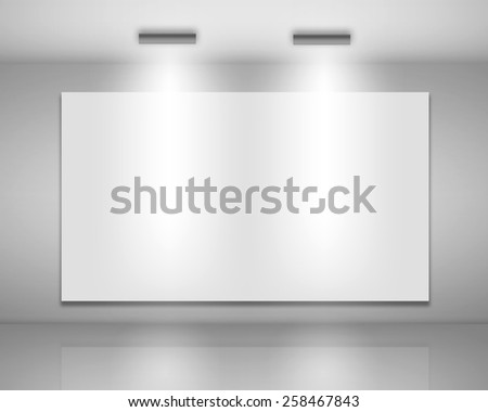 Illustration of Blank billboard on empty wall with lights - stock photo