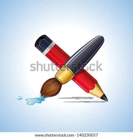 illustration of blank paper and pencil. Check list. rasterized/bitmap - stock photo
