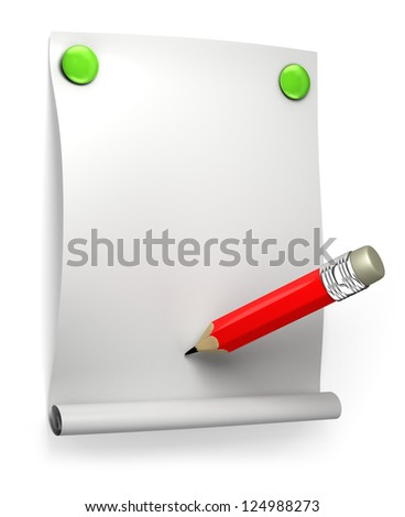 Illustration of blank paper and red pencil on white - stock photo