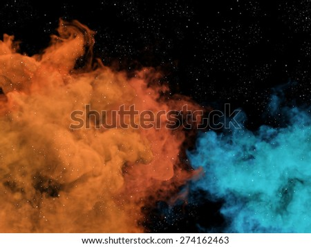 Illustration of blue and orange nebulas and stars in cosmos - stock photo