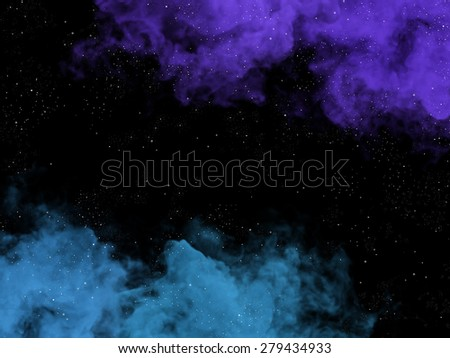 Illustration of blue and violet nebulas and stars in cosmos - stock photo
