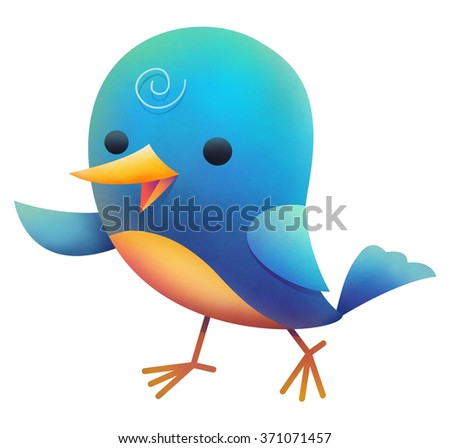 Illustration of blue bird walking - stock photo