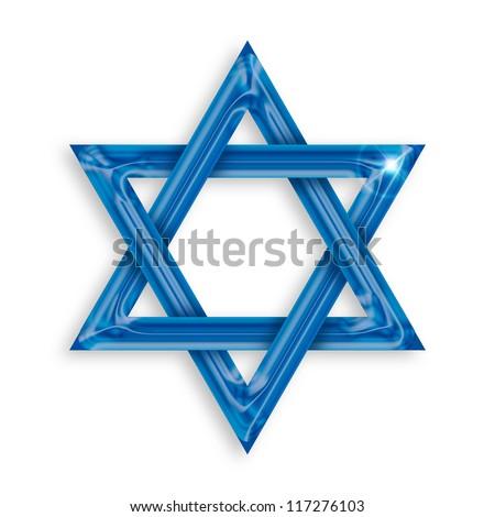Illustration of blue hexagram on white background - stock photo