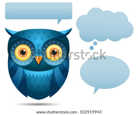 Illustration of Blue Owl and talk bubble - stock photo