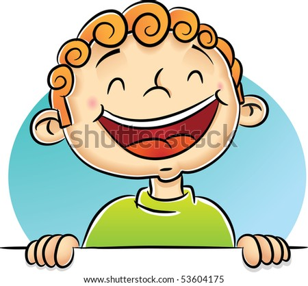 Illustration of Boy Laughing - stock photo