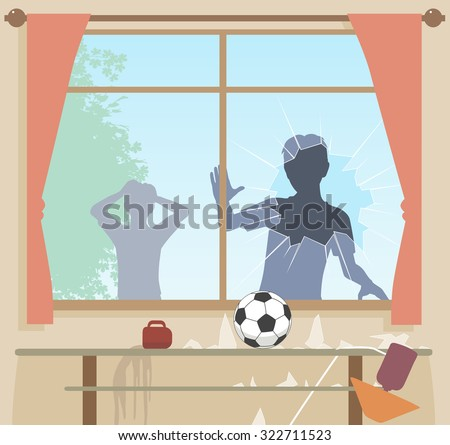Illustration of boys breaking a window with a football - stock photo