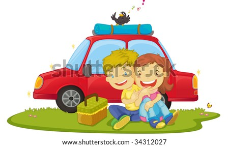 illustration of boys sitting near car - vector EPS of this image also available in my portfolio - stock photo
