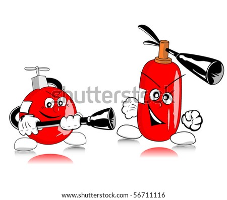 illustration of brave extinguishers - raster version - stock photo