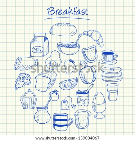 Illustration of breakfast ink doodles on squared paper - stock photo