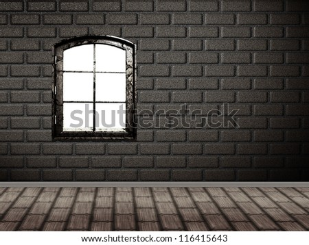 Illustration of brick wall interior with wood floor and window. - stock photo