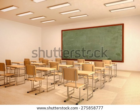 illustration of bright empty classroom with desks and chairs - stock photo