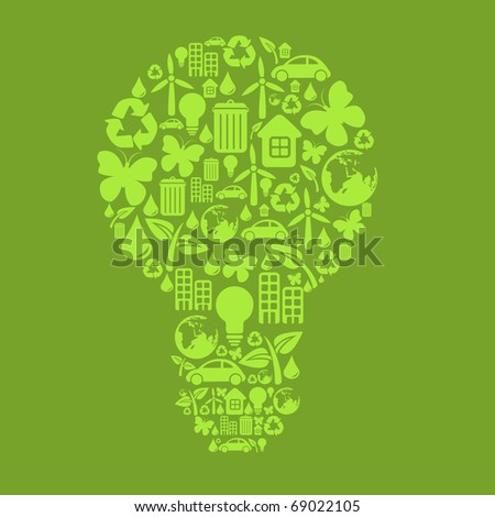 illustration of bulb shape, made from different ecological items. - stock photo