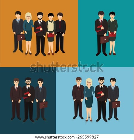 illustration of business man and woman forming team - stock photo