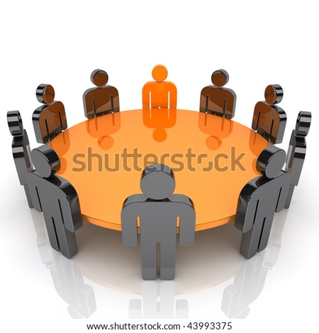 Illustration of business meeting with staff and leader - stock photo