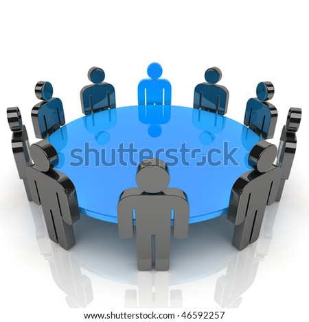 Illustration of business meeting with staff and leader (blue collection) - stock photo