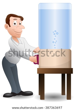 illustration of  businessman  drinking water over isolated background - stock photo
