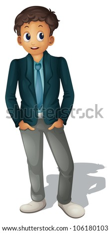 Illustration of businessman standing on white - stock photo