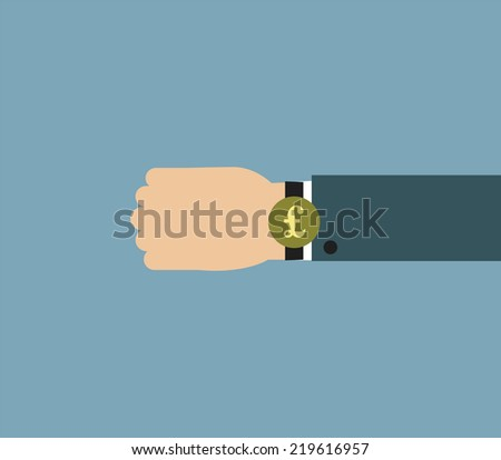 Illustration of Businessman wearing over sized watch with currency sign - British Pound - stock photo