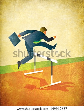 Illustration of businessman with briefcase jumping over hurdles on running track. Textured art with lots of room for copy or cropping. 18x23 inches at 300dpi. - stock photo