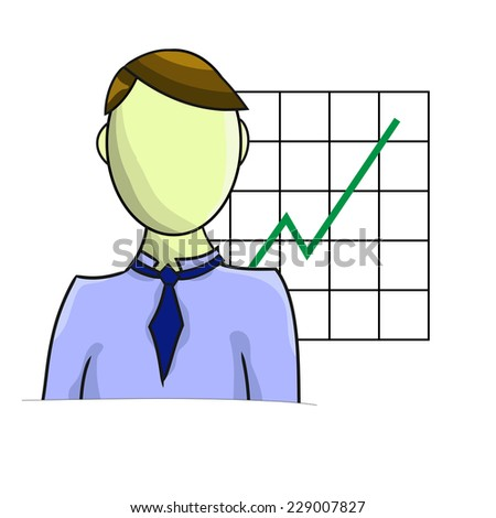 Illustration of businessman with graph isolated on white background - stock photo