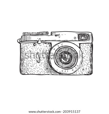illustration of camera hand draw on vintage paper background, cute label - stock photo