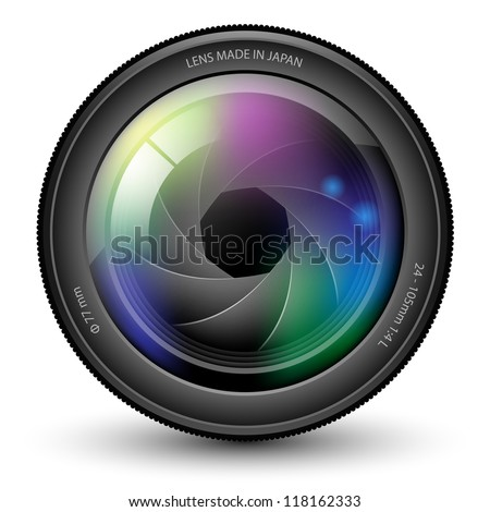Illustration of camera lens isolated on a white background. - stock photo