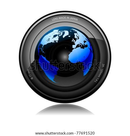 Illustration of camera lens with reflecting globe on a white background. - stock photo