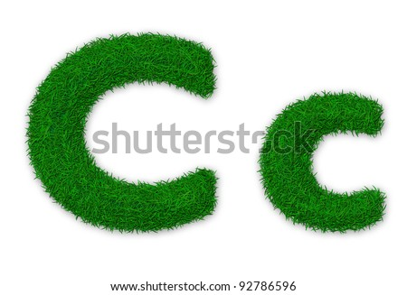 Illustration of capital and lowercase letter C made of grass - stock photo