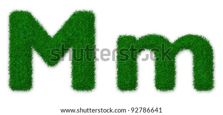 Illustration of capital and lowercase letter M made of grass - stock photo