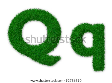 Illustration of capital and lowercase letter Q made of grass - stock photo