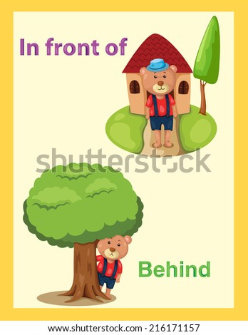 illustration of  cartoon bear with vocabulary in front of and behind - stock photo