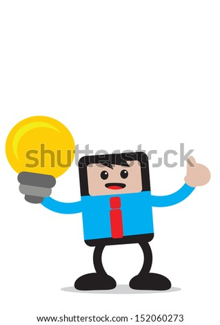 illustration of cartoon character businessman in activity - stock photo