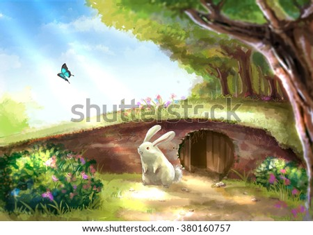 Illustration of cartoon cute white rabbit bunny is standing near the rabbit hole in beautiful garden with colorful flowers tree plants and morning sunshine nature landscape - stock photo
