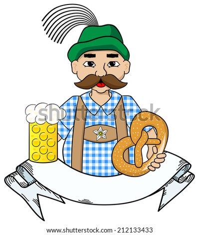 illustration of cartoon oktoberfest man with beer and pretzel and banner - stock photo
