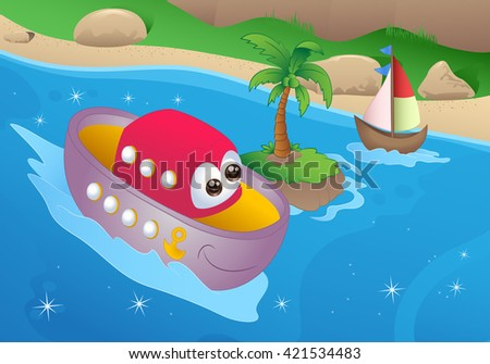 illustration of cartoon sea boat  on sea background - stock photo