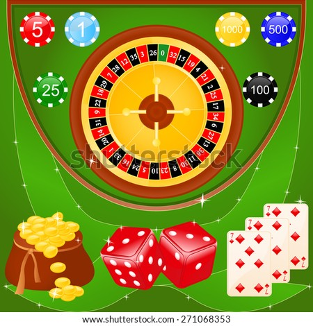 Illustration of casino elements: roulette, chips, dice and cards. - stock photo