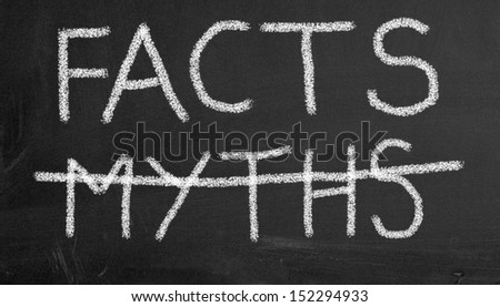 Illustration of chalkboard with text facts and crossed myths - stock photo