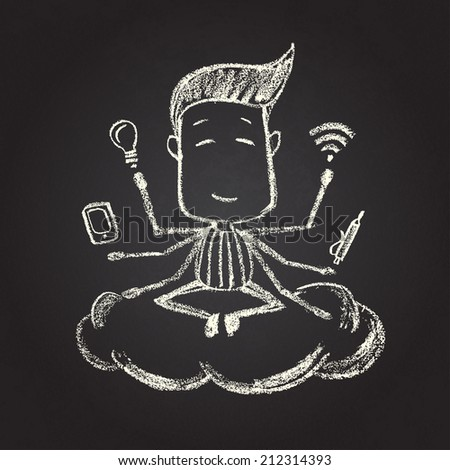 Illustration of chalked character - stock photo