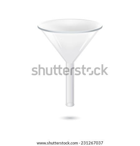Illustration of chemical funnel - lab equipment, 3d, isolated on white background, raster - stock photo