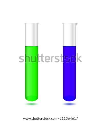 Illustration of chemical test tubes with colored solutions on white background - laboratory glassware, isolated on white background; 3d illustration, raster - stock photo
