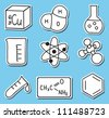 Illustration of chemistry icons - hand-drawn pictures - stickers - stock photo