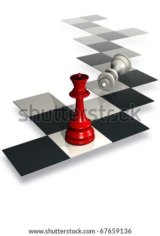 illustration of chess board with queen - stock photo