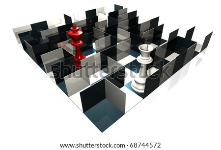 illustration of chess board with queen and peons - stock photo
