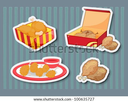 Illustration of chicken foods as stickers - EPS VECTOR format also available in my portfolio. - stock photo