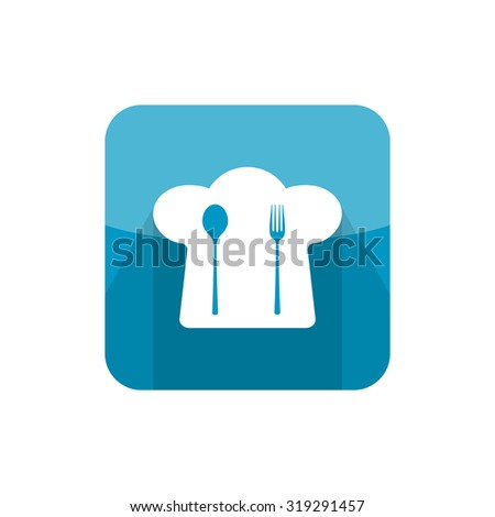 Illustration of chief cook hat icon with fork and spoon in modern flat design. Cafe and restaurant simple menu sign with long shadow - stock photo
