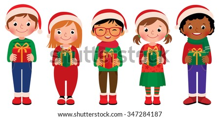 Illustration of children in full length with Christmas gifts in hands isolated on white background/Cartoon children with Christmas gifts in hands isolated on white background/Cartoon illustration - stock photo